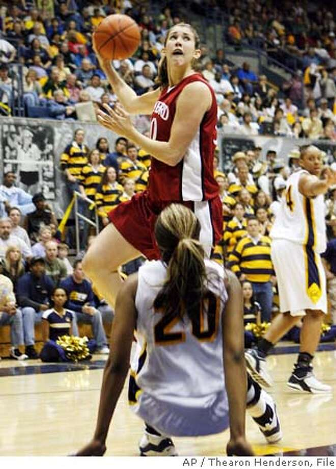 Stanford's Brooke Smith (30) puts up a hook shot after California's Devanei Hampton (20) fell to the floor during the first half of a college basketball game in Berkeley, Calif., Saturday, Feb. 11, 2006. (AP Photo/Thearon Henderson)Ran on: 02-12-2006  Stanford's Brooke Smith winds up for the hook shot as Cal's Devanei Hampton, not to mention Bears fans, can only watch.Ran on: 02-12-2006  Stanford's Brooke Smith winds up for the hook shot as Cal's Devanei Hampton, not to mention Bears fans, can only watch. EFE OUT EFE OUT Photo: THEARON HENDERSON