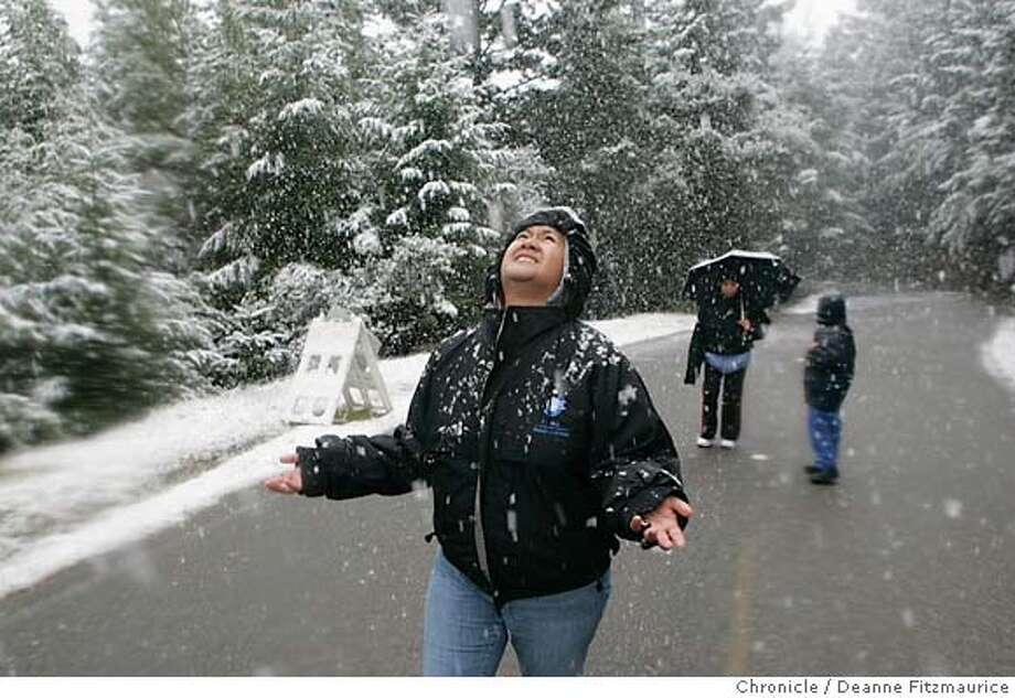 Patty Kalaw from Union City came out to see a rare snowfall on Mount Tamalpais in Marin County. San Francisco Chronicle photo by Deanne Fitzmaurice Photo: Deanne Fitzmaurice