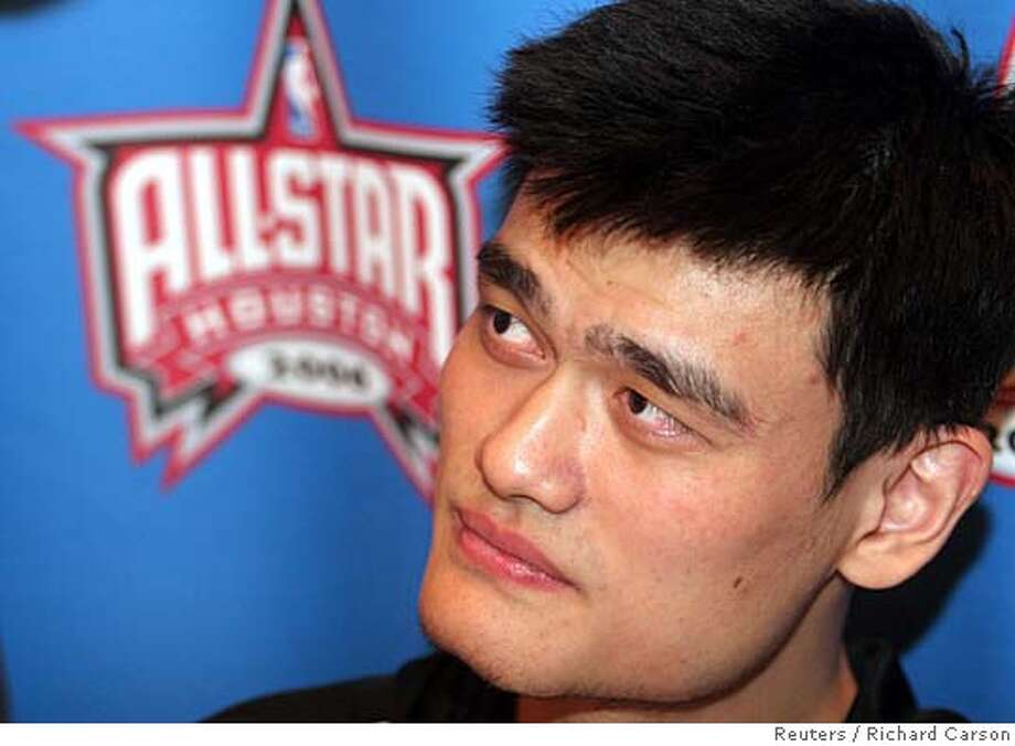 Houston Rockets center Yao Ming talks to the media during the 2006 NBA All-Star press conference in Houston, Texas, February 17, 2006. The East and West All-Stars play February 19. REUTERS/Richard Carson 0 Photo: RICHARD CARSON