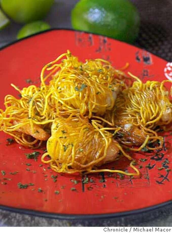 "furenzu17_044_mac.jpg One of the featured plates, ""Shrimp in the Nest"", shrimp wrapped in egg noodles, pan fried. ""Furenzu"" restaurant, bills itself as New Wave Asian-Tapas Cuisine, on Adeline St. in Emeryville. Event in Emeryville, Ca on 2/15/06 Photo by : Michael Macor/ San Francisco Chronicle Mandatory credit for Photographer and San Francisco Chronicle/ - Magazines Out Photo: Michael Macor"