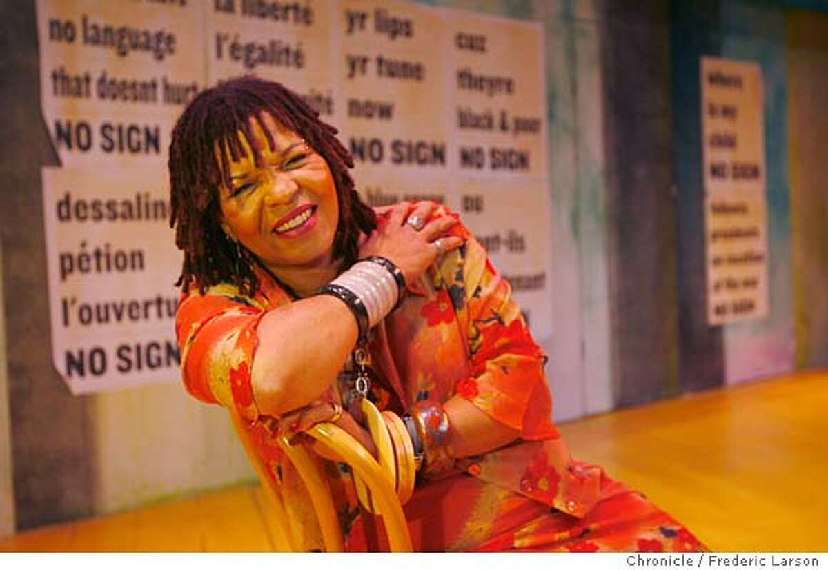 """{object name} Playwright Ntozake Shange, who wrote the famous """"for colored girls who have considered suicide when the rainbow is enuf"""" (cq), has written a new one titled """"From okar to greens/a different kinda love story,"""" premiering at SF' s Lorraine Hansberry Theatre. 2/11/06 Frederic Larson Ran on: 02-17-2006 Playwright Ntozake Shange was surrounded by famous musicians growing up, and has infused her poetry with sound as well as movement."""
