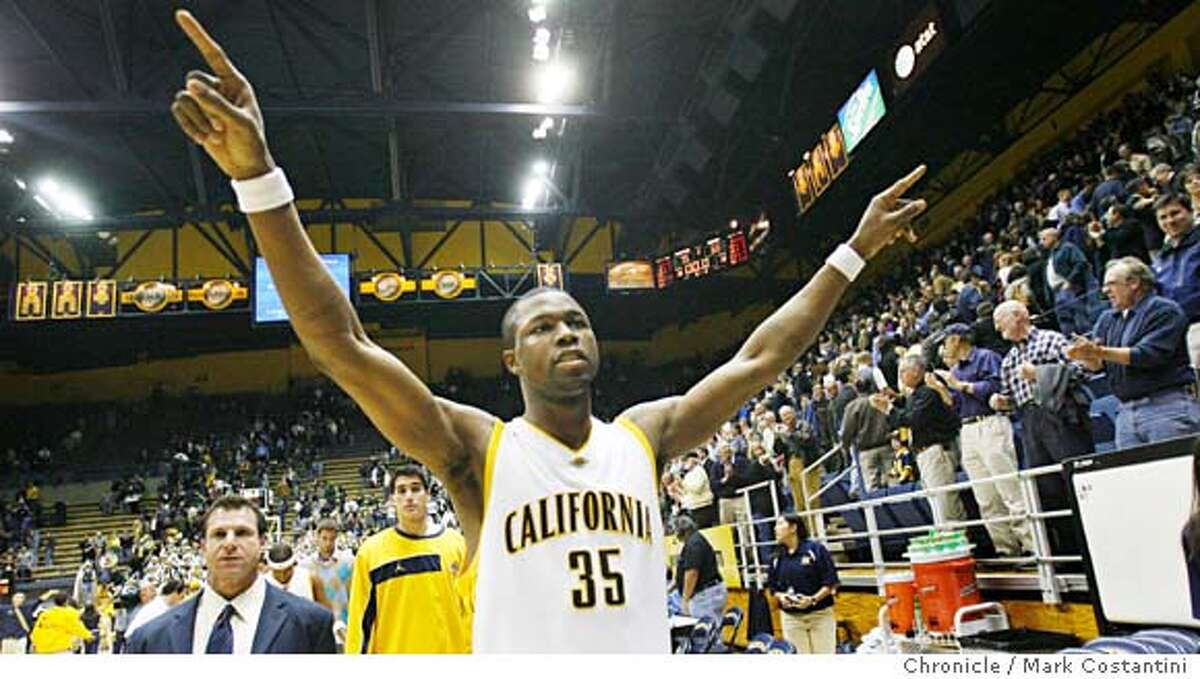 CAL_0255 {2/16/06} Cal's DeVon Hardin raises his arms in victory after Cal beas Arizona. Cal vs. Arizona in men's basketball. EVENT ON 2/16/06 IN BERKELEY. PHOTO: MARK COSTANTINI/SAN FRANCISCO CHRONICLERan on: 02-17-2006 Cals DeVon Hardin raises his arms in victory after Cal beats Arizona for the second time in their past 16 meetings. Cal is now tied for first in the Pac-10.Ran on: 02-17-2006 Cals DeVon Hardin raises his arms in victory after Cal beats Arizona for the second time in their past 16 meetings. Cal is now tied for first in the Pac-10.