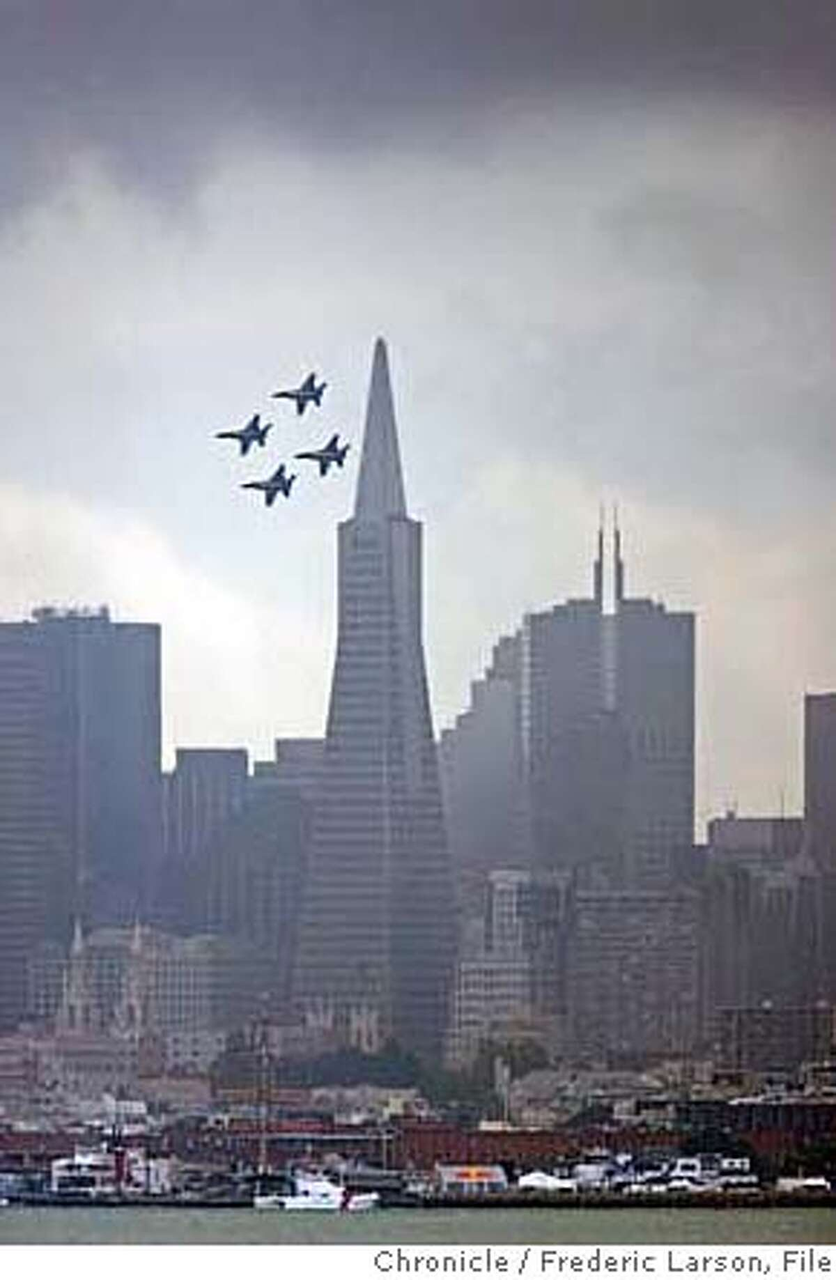The Blue Angels take their practice rounds over San Francisco in preparation for Fleet week seen from Sausalito. 10/6/06 {Frederic Larson} MANDATORY CREDIT FOR AND SAN FRANCISCO CHRONICLE/NO SALES-MAGS OUT