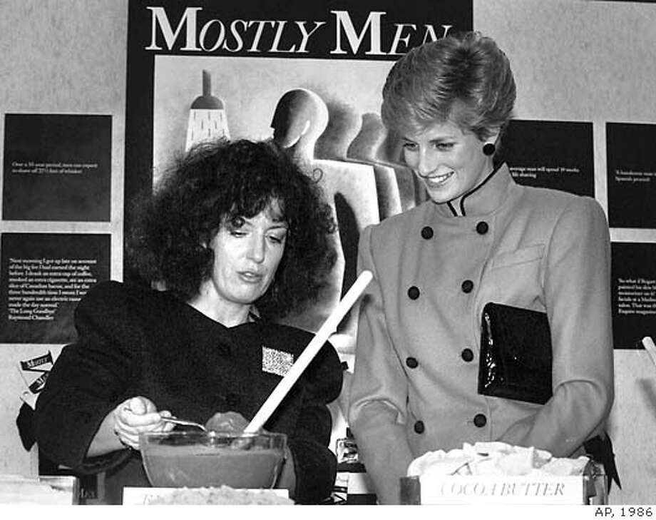** RETRANSMISSSION TO ADD NUMBER ** Body Shop founder Anita Roddick gives a demonstration for Diana, Princess of Wales, at the opening of a new company headquarters in Littlehampton, Sussex in Dec 1986 . Roddick died, aged 64, of a brain haemorrage Monday night Sept 10 2007, her family said. Body Shop International PLC, the British retailer which promotes natural-based cosmetics and has branches worldwide , was taken over by L'Oreal of France in a 652 million pound (euro944 million; US$1.14 billion) cash deal in 2006.(AP Photo/PA FILE) ** UNITED KINGDOM OUT NO SALES NO ARCHIVE** UNITED KINGDOM OUT NO SALES NO ARCHIVE - PHOTOGRAPH CAN NOT BE STORED OR USED FOR MORE THAN 14 DAYS AFTER THE DAY OF TRANSMISSION Photo: Associated Press File Photo