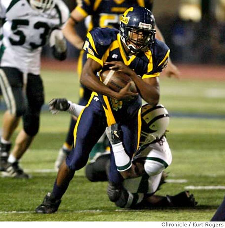 Deante Purvis of Pinole Valley High with this run for a firs down in the first quarter of play.  High school football El Cerrito At Pinole Valley.  KURT ROGERS/THE CHRONICLE PINOLE THE CHRONICLE  SFC PINOLE28_0259_kr.jpg  Ran on: 10-28-2006  Deante Purvis rushed for 221 yards and five touchdowns to lead Pinole Valley's offensive display.  Ran on: 10-28-2006  Deante Purvis rushed for 221 yards and five touchdowns to lead Pinole Valley's offensive display.  ALSO Ran on: 05-31-2007  Ashton shows some Purvis power alongside sister Julian and half-brother Deante at the NCS Meet of Champions in Berkeley. MANDATORY CREDIT FOR PHOTOG AND SF CHRONICLE / NO SALES-MAGS OUT Photo: KURT ROGERS/THE CHRONICLE