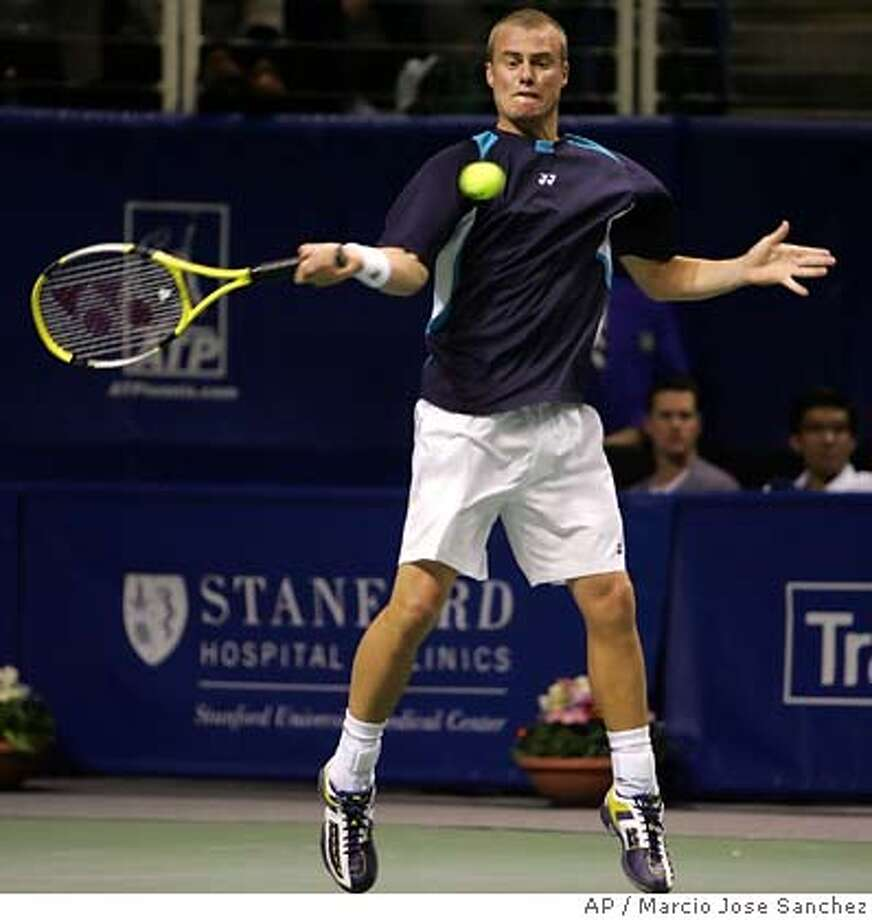 Australia's Lleyton Hewitt returns to Paul Goldstein during the the SAP Open tennis tournament in San Jose, Calif. on Wednesday, Feb. 15, 2006. (AP Photo/Marcio Jose Sanchez) Photo: MARCIO JOSE SANCHEZ