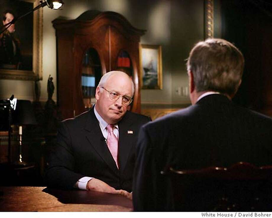 U.S. Vice President Dick Cheney (L) talks with Brit Hume of Fox News Channel about the accidental shooting of his friend and fellow hunter Harry Whittington as he participates in a television interview at the White House complex in Washington February 15, 2006. This is the first time that Cheney has spoken publicly about the incident since accidentally shooting his friend. EDITORIAL USE ONLY REUTERS/David Bohrer/White House/Handout Photo: HO