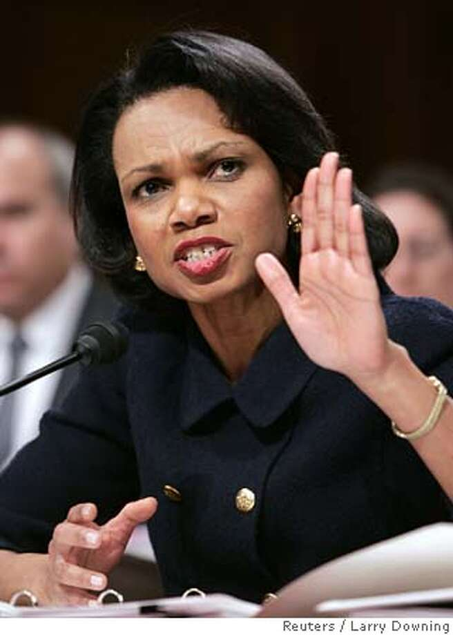U.S. Secretary of State Condoleezza Rice testifies before the Senate Foreign Relations Committee on Capitol Hill, February 15, 2006. REUTERS/Larry Downing 0 Photo: LARRY DOWNING
