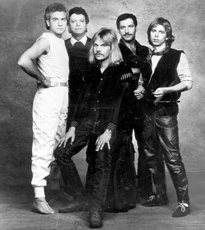 1980s photo of the band Styx. With Dennis De Young, John Panozzo, James Young, Chuck Panozzo and Tommy Shaw from left to right.  Ran on: 09-12-2007  At left: the classic Styx lineup: Dennis DeYoung (from left), John Panozzo, James &quo;JY&quo; Young, Chuck Panozzo and Tommy Shaw. Below: Chuck Panozzo recently. Photo: Ho