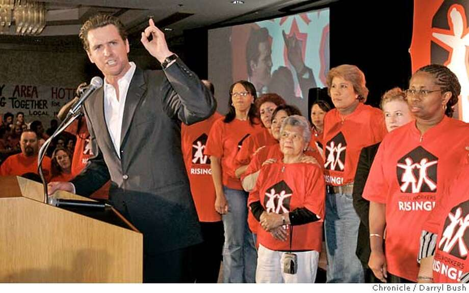 "hotels_0002_db.JPG  Mayor Gavin Newsom speaks to a crowd of union hotel workers attending a rally called ""Hotel Workers Rising"" in San Francisco.  Event on 2/15/06 in San Francisco.  Darryl Bush / The Chronicle MANDATORY CREDIT FOR PHOTOG AND SF CHRONICLE/ -MAGS OUT Photo: Darryl Bush"