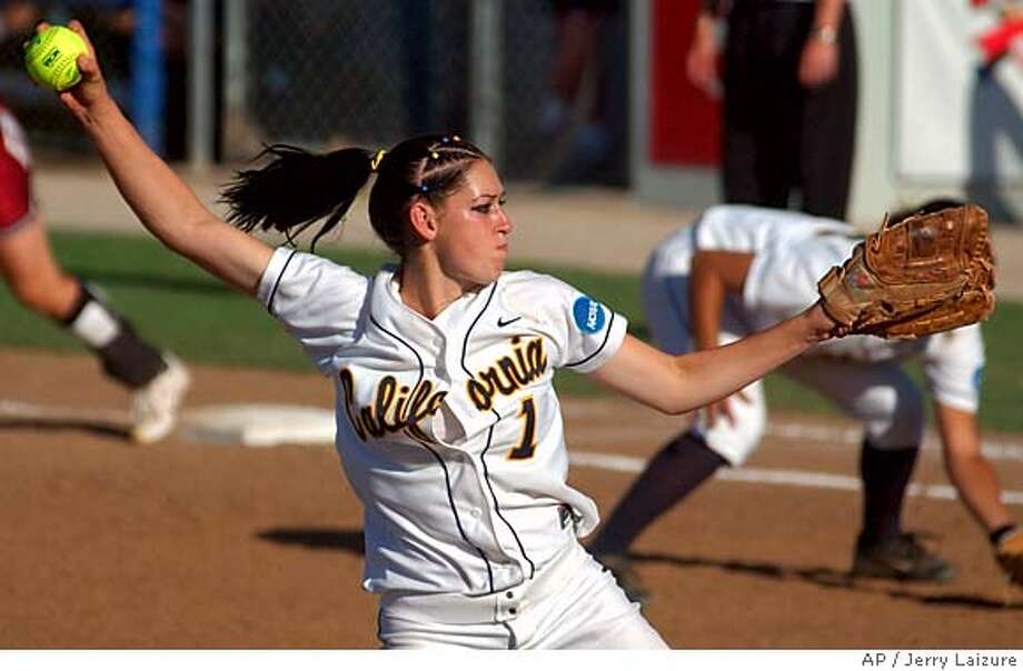 California pitcher Kristina Thorson (1) delivers against Oklahoma during a Womens College World Series game in Oklahoma City, Friday, May 28, 2004. Cal won 2-1. (AP Photo/Jerry Laizure) ProductName	Chronicle ProductName	Chronicle ProductNameArticle_Name	SkyboxA ProductNameArticle_Name	SkyboxA Ran on: 02-21-2005  Kristina Thorson Ran on: 02-21-2005  Kristina Thorson  ALSO RAN: 06/01/2005 Photo: JERRY LAIZURE