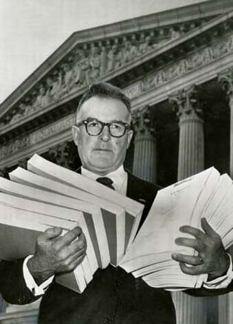 OBIT_DAVIS_PH1.jpg Obit photo of George Davis in 1959 outside the Supreme Court. Photo credit: AP