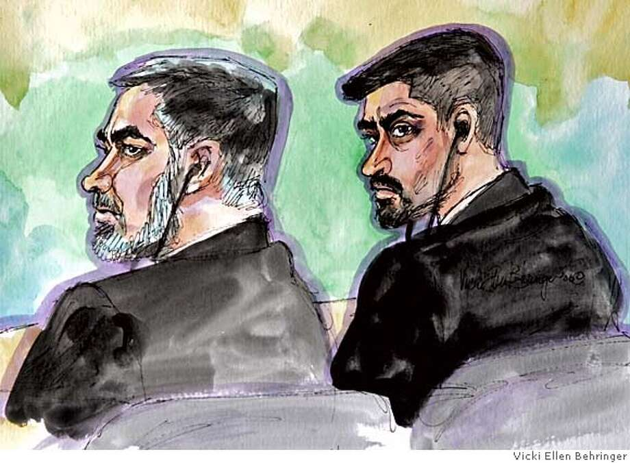 An artist's drawing shows terror probe suspect Umer Hayat, left, and his son Hamid Hayat, 23, right, during the first day of jury selection in their trial in federal court in Sacramento, Calif., Tuesday, Feb. 14, 2006. Umer Hayat, 48, has been charged with two counts of making false statements to the FBI about his son, Hamid Hayat, 23, attending an al Qaida training camp in Pakistan. Hamid Hayat, 23, unseen, is charged with three counts of making false statements to the FBI about attending the camp and with providing material support to terrorsts.(AP Photo/Drawing by Vicki Ellen Behringer) Photo: VICKI ELLEN BEHRINGER