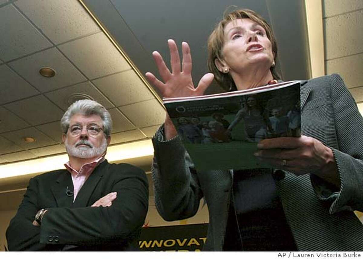 Star Wars director George Lucas, left, joins House Minority Leader Nancy Pelosi of Calif. during a technology town meeting on Capitol Hill, Tuesday, Feb. 14, 2006. Lucas took part in the meeting where they discussed the need to create a new generation of innovators that reflects the diversity of our country. (AP Photo/Lauren Victoria Burke)