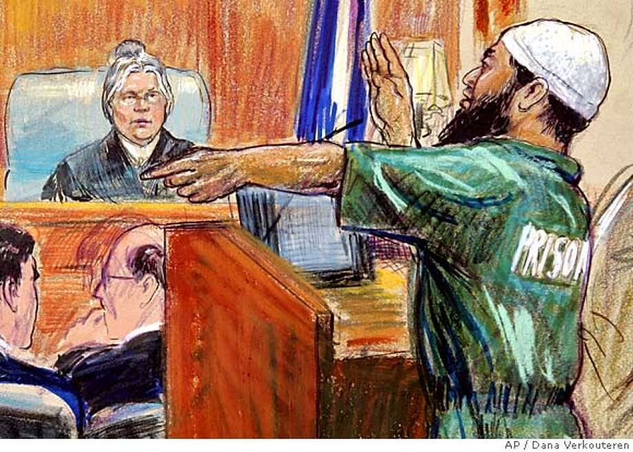 Artist rendering of Zacarias Moussaoui, with beard, with his lawyers, seated left, argues before U.S. District Judge Leonie M. Brinkema, seated back, during a pretrial hearing, Tuesday, Feb. 14, 2006, in Alexandria, Va. A federal judge ruled Tuesday that confessed al-Qaida conspirator Zacarias Moussaoui will not be in the courtroom for jury selection at his upcoming death-penalty trial, after Moussaoui again defied the judge at a pretrial hearing. (AP Photo/Dana Verkouteren) Photo: DANA VERKOUTEREN