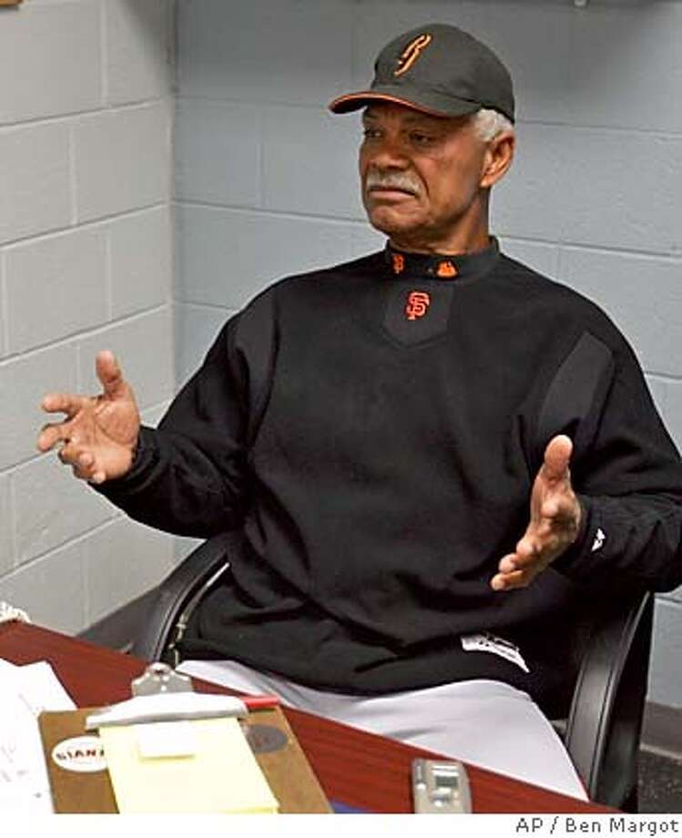 San Francisco Giants' manager Felipe Alou gestures during a news conference in his Scottsdale Stadium office Thursday, March 17, 2005, in Scottsdale, Ariz. The Giants announced that their star left fielder, Barry Bonds, underwent a second operation on his right knee this morning. (AP Photo/Ben Margot) Ran on: 03-31-2005 Ran on: 08-11-2005  Alou said he did not intend to get anyone fired, but Krueger's comments were not to be tolerated. Ran on: 08-11-2005  Alou said he did not intend to get anyone fired, but Krueger's comments were not to be tolerated. Photo: BEN MARGOT