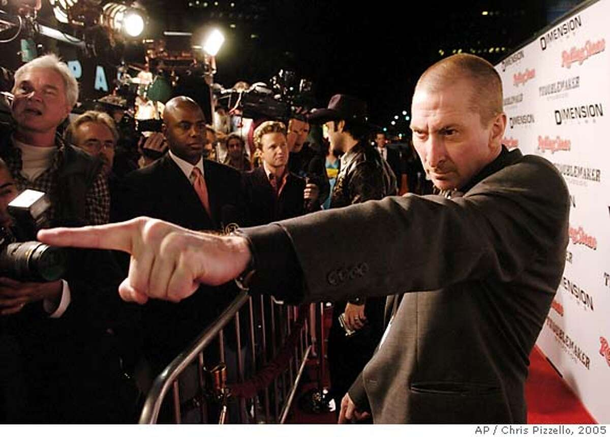 """""""Sin City"""" co-director Frank Miller poses for photographers at the Los Angeles premiere of the film, Monday, March 28, 2005. Miller also wrote the graphic novel upon which the film is based. (AP Photo/Chris Pizzello)"""