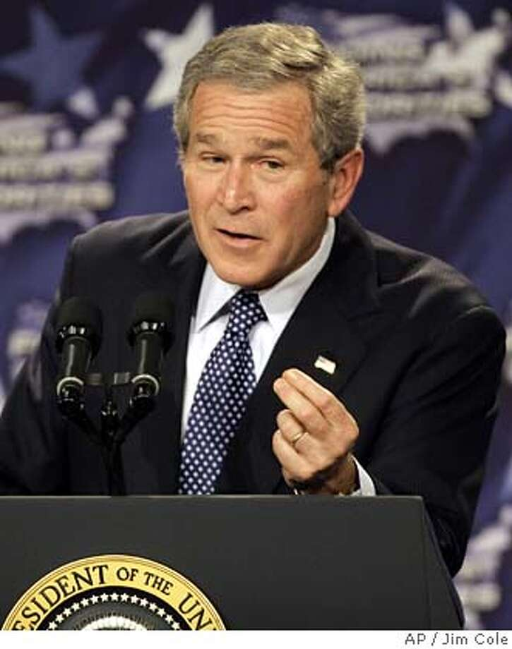 resident Bush speaks to the Business and Industry Association of New Hampshire, Wednesday, Feb. 8, 2006, in Manchester, N.H. (AP Photo/Jim Cole)