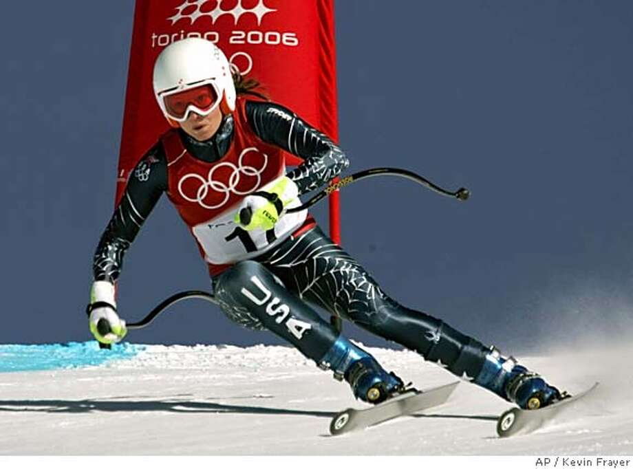 Julia Mancuso of the United States speeds down the course during the Women's Downhill training in San Sicario Fraiteve, Italy at the Turin 2006 Winter Olympic Games Monday, Feb. 13, 2006. (AP Photo/Kevin Frayer) Photo: KEVIN FRAYER