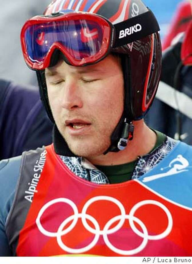 Bode Miller of the United States reacts after completing the first run of the Slalom portion of the Men's Combined at the Turin 2006 Winter Olympic Games in Sestriere Colle, Italy, Tuesday, Feb. 14, 2006. (AP Photo/Luca Bruno) Photo: LUCA BRUNO