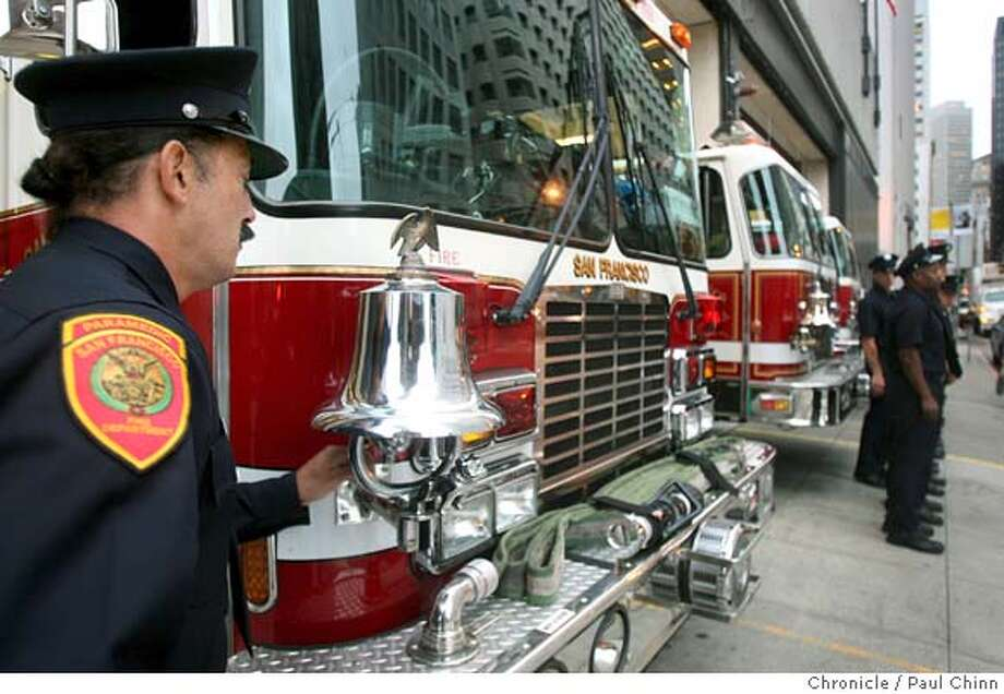 Anthony Valerio rings a bell to signal the start of the remembrance ceremony at Station 13 in the Financial District. Firefighters across the city held services in San Francisco, Calif. on Tuesday, Sept. 11, 2007 to honor New York firefighters that lost their lives in the 9/11 terrorist attacks six years ago. Flags were lowered to half-mast and the names of the 343 firefighters who died in the attack were read aloud at all of the city's fire stations. PAUL CHINN/The Chronicle  **Anthony Valerio Photo: PAUL CHINN