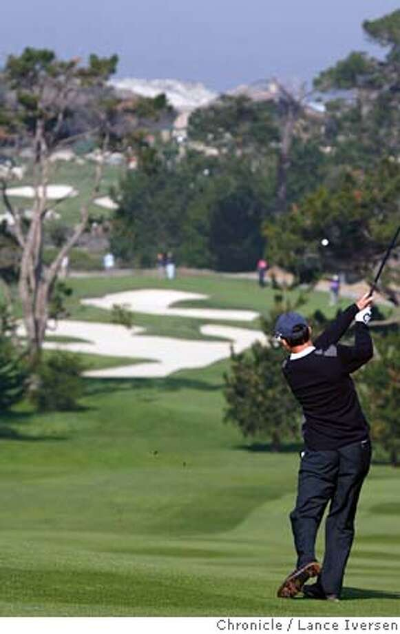 AT&T1062.jpg_  Mike Weir hits his second shot on 1st hole at Spyglass Hill Saturday during 3rd round action of the 2006 AT&T Pebble Beach National Pro-Am. By Lance Iversen/San Francisco Chronicle MANDATORY CREDIT PHOTOG AND SAN FRANCISCO CHRONICLE. Photo: Lance Iversen