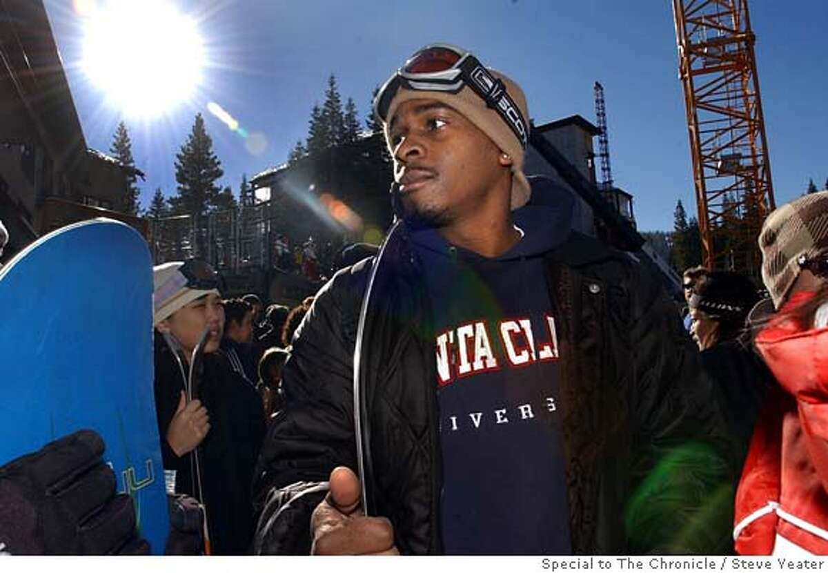 Terrence Boyd waits with other members of the Santa Clara University Asian Pacific Student Union to get their ski lift tickets during a trip to Northstar at Tahoe on Saturday, Feb. 11, 2006.(Steve Yeater/Special to The Chronicle)
