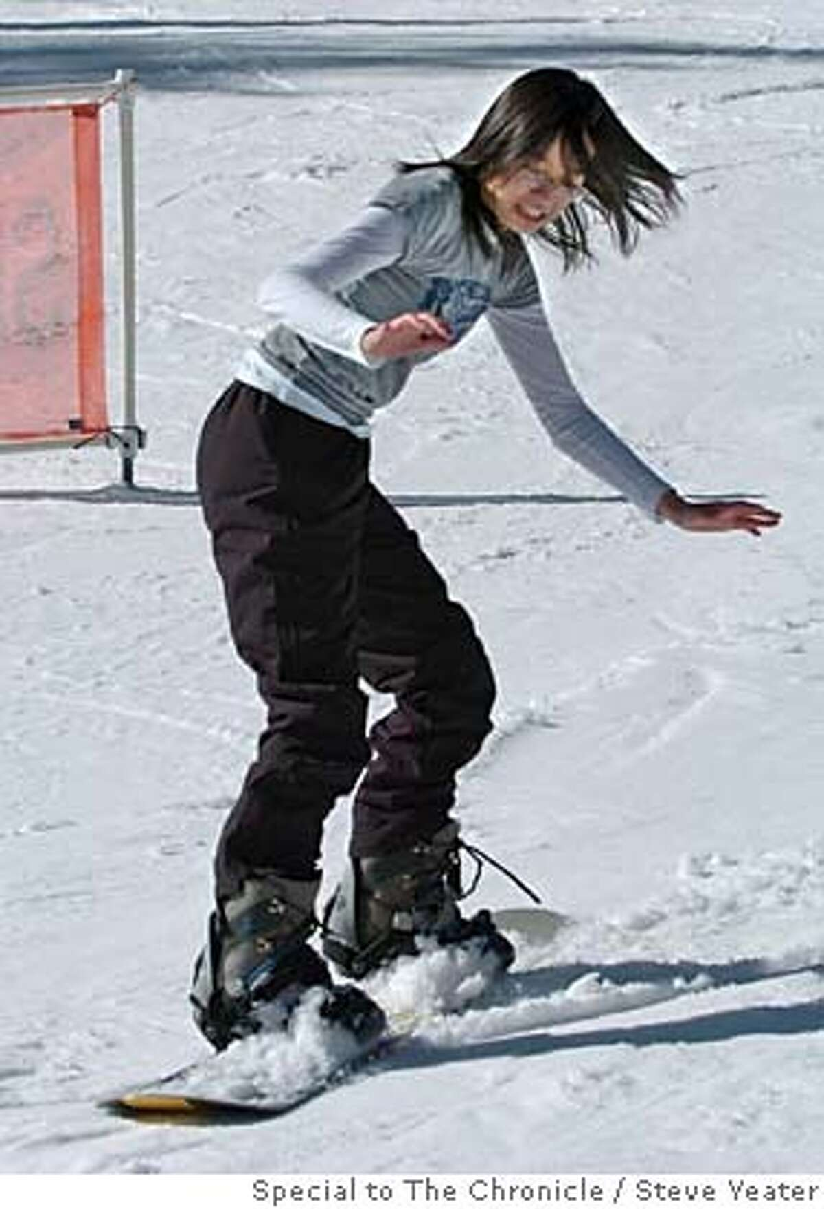 �Rosie Chao glides down the bunny hill during an outing with the Santa Clara University Asian Pacific Student Union at Northstar at Tahoe on Saturday, Feb. 11, 2006.(Steve Yeater/Special to The Chronicle)