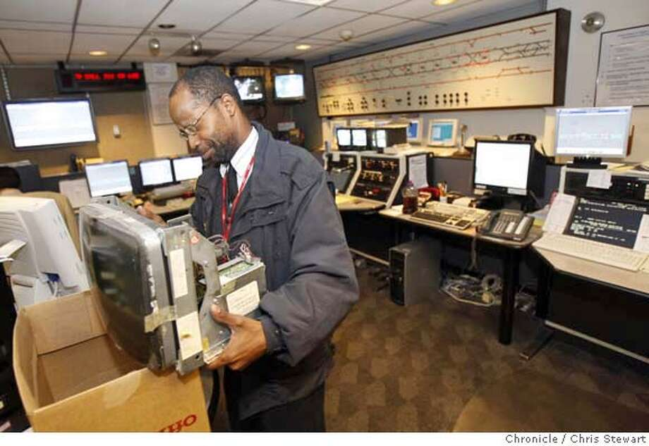 muni11_0014_cs.jpg Event on 9/10/07 in San Francisco  David Banbury (cq), superintendent at Muni Central Control, reacts to a face full of dust while moving a 29-year-old CRT display. Controllers work with outdated equipment at the Muni Central Control, near the West Portal Metro Station Photographed September 10, 2007. Chris Stewart / The Chronicle muni, David Banbury MANDATORY CREDIT FOR PHOTOG AND SF CHRONICLE/NO SALES-MAGS OUT Photo: Chris Stewart