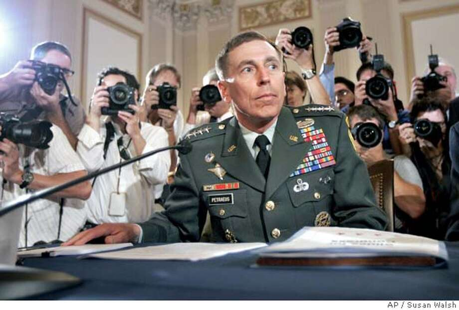Gen. David Petraeus waits to testify on Capitol Hill in Washington, Monday, Sept. 10, 2007, before the House Armed Services Committee hearing on the future course of the war in Iraq. (AP Photo/Susan Walsh) Photo: Susan Walsh