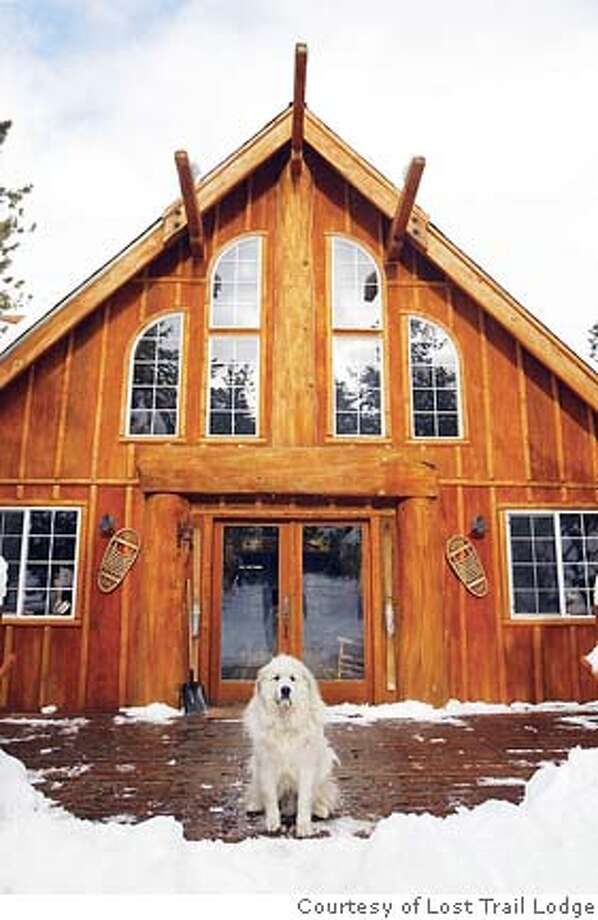 TRAVEL LOST TRAIL LODGE -- Opie, a Great Pyrenees dog, greets new arrivals to Lost Trail Lodge. Photo: HO