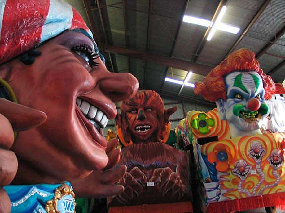 Carnival floats stored at Mardi Gras World in Algiers, La., sit waiting for the parade season, which started Saturday. Chronicle photo by Spud Hilton
