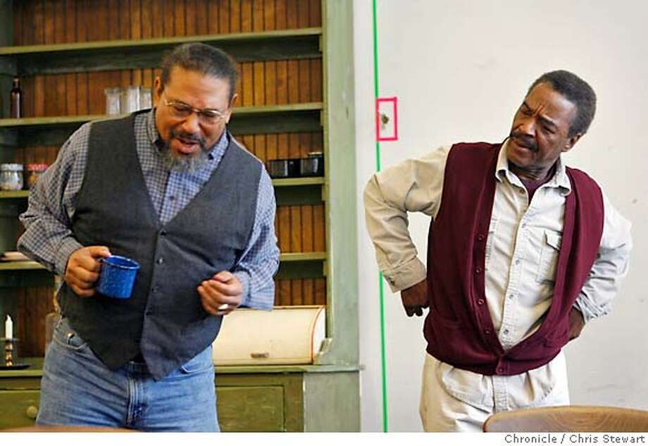 gem12_063_cs.JPG  Event on 2/2/06 in San Francisco.  Actors Steven Anthony Jones (left) and Chuck Patterson during a rehearsal of August Wilson's Gem of the Ocean for a pink piece on the putting together of the show. Rehearsal is at the ACT rehearsal offices, 30 Grant Avenue, SF. (Editor provided no details about show).  Chris Stewart / The Chronicle MANDATORY CREDIT FOR PHOTOG AND SF CHRONICLE/ -MAGS OUT Photo: Chris Stewart