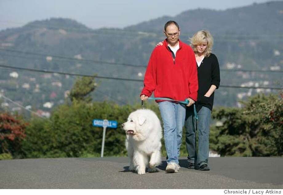 Neal Almgren and wife Peggy walk their dog chester around their neighborhood in Mill Valley, JAn. 12, 2005.  Neal Almgren was diagnosed with a brain tumor, the 49-year-old has endured two recurrences, which have required various surgeries and course of chemotherapy to treat. When he experienced his latest recurrence this fall, his doctor at UCSF wanted him to try a promising off-label new drug that is only approved for colon cancer. Almgren's insurer, Blue Shield of California, has refused to cover it .  Photo by Lacy Atkins Photo: LACY ATKINS