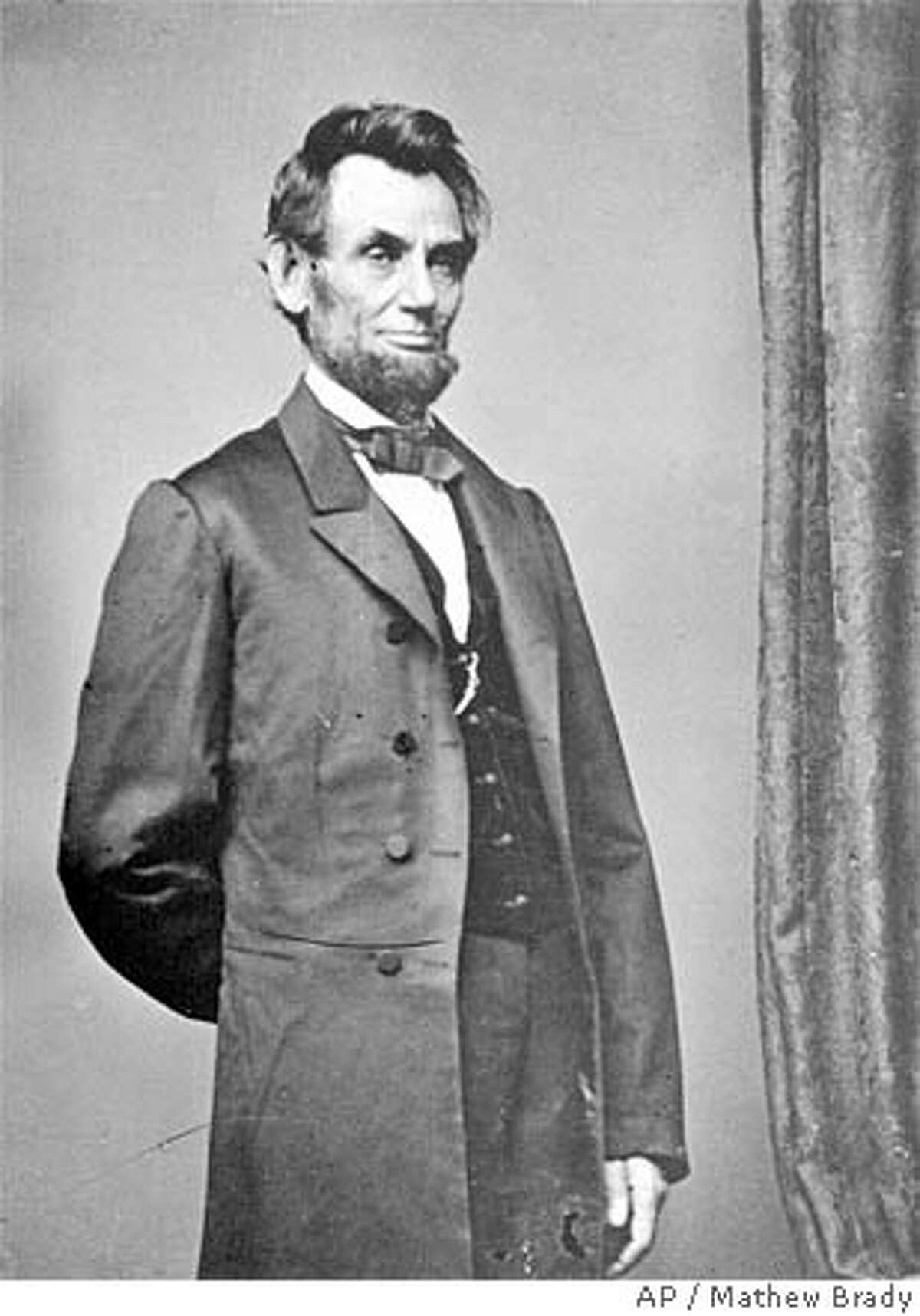 ** FILE ** President Abraham Lincoln poses for a portrait in this undated file photo. Lincoln has been labeled the nation's greatest president by the American people, according to a recent poll. (AP Photo/Mathew Brady) Ran on: 02-21-2005 Jason Bezis displays evidence that the name of the holiday in question is, well, questionable. Ran on: 02-21-2005 Jason Bezis displays evidence that the name of the holiday in question is, well, questionable. Ran on: 02-21-2005 Jason Bezis displays evidence that the name of the holiday in question is, well, questionable. UNDATED BLACK AND WHITE FILE PHOTO