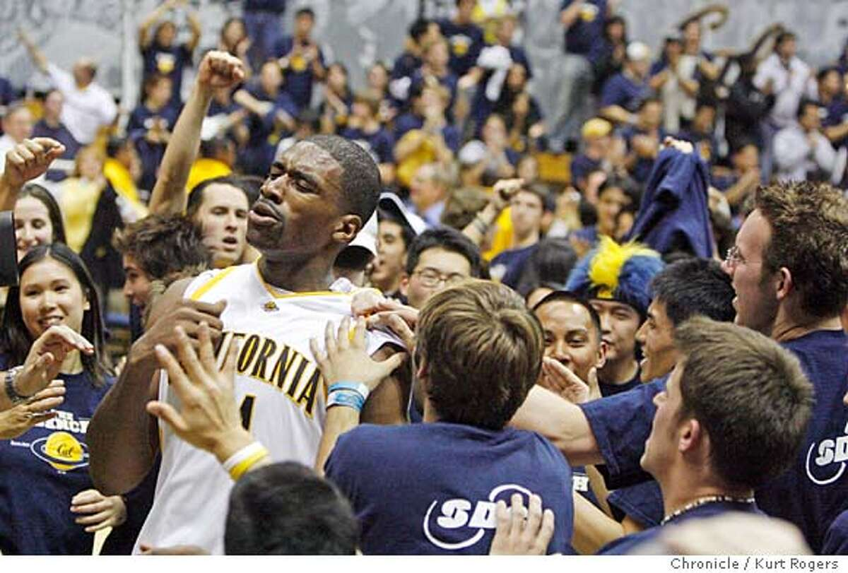 The end of the game as Leon Powe comes off the court he is mobed by the croud.as Cal over Stanford 65-62 The Stanford Cardinal vs California Golden Bears. Kurt Rogers BERKELEY SFC The Chronicle CAL_STANFORD_00464_kr.JPG MANDATORY CREDIT FOR PHOTOG AND SF CHRONICLE/ -MAGS OUT