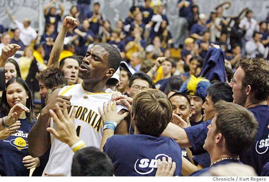 The end of the game as Leon Powe comes off the court he is mobed by the croud.as Cal over Stanford 65-62  The Stanford Cardinal vs California Golden Bears. Kurt Rogers BERKELEY SFC  The Chronicle CAL_STANFORD_00464_kr.JPG MANDATORY CREDIT FOR PHOTOG AND SF CHRONICLE/ -MAGS OUT Photo: Kurt Rogers