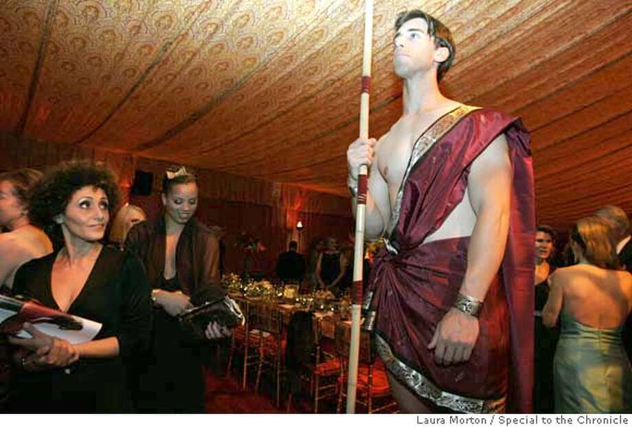 .jpg Models dressed as temple guards were part of the Samson and Delilah theme decor in the dinner tent at the San Francisco Opera Opening Night Gala.  (Laura Morton/Special to the Chronicle) Photo: Laura Morton
