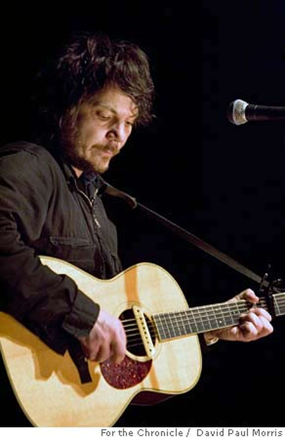 SAN FRANCISCO, CA - FEB 08: Jeff Tweedy, guitarist and front man for the band Wilco appears at the Filmore during his solo tour on February 8, 2006 in San Francisco, California. (Photo by David Paul Morris/The Chronicle)