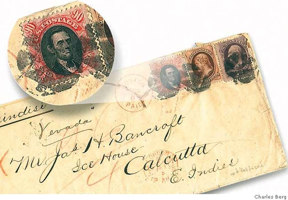 Unique envelope has the 90-cent Lincoln stamp on it (with enlargement at left) and two other stamps. It was mailed from Boston to Calcutta in 1873. Photo by Charles Berg