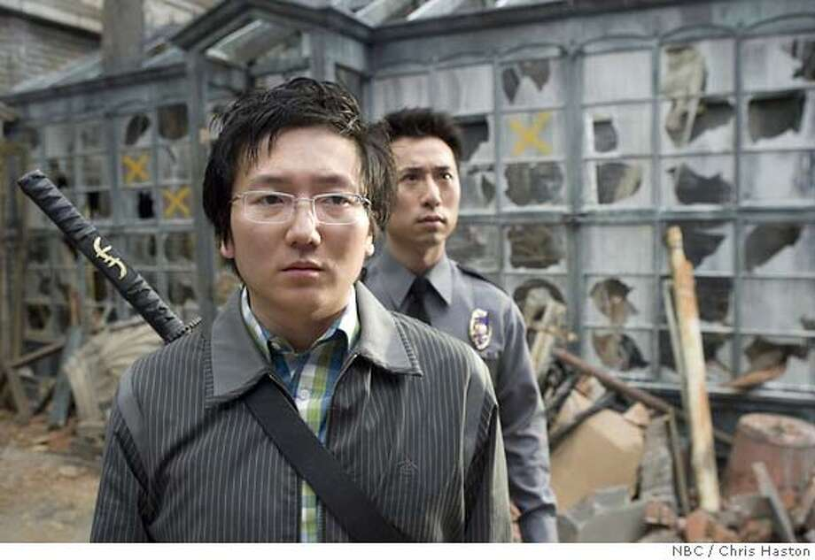 "HEROES -- ""Parasite"" Episode 118 -- Pictured: (l-r) Masi Oka as Hiro Nakamura, James Kyson Lee as Ando Masahashi -- NBC / Chris Haston Photo: Chris Haston  Ran on: 04-23-2007  Masi Oka, the tech geek-superhero on &quo;Heroes,&quo; had a first career in special effects at Industrial Light & Magic studio in the Bay Area.  ALSO Ran on: 05-28-2007  Networks' best offerings: (from left) ABC's &quo;Ugly Betty&quo;; &quo;Shark&quo; on CBS; NBC's &quo;Heroes&quo;; &quo;American Idol&quo; on Fox; and the CW's &quo;Everybody Hates Chris.&quo; FOR EDITORIAL USE ONLY -- DO NOT ARCHIVE -- NOT FOR RESALE Photo: Chris Haston"