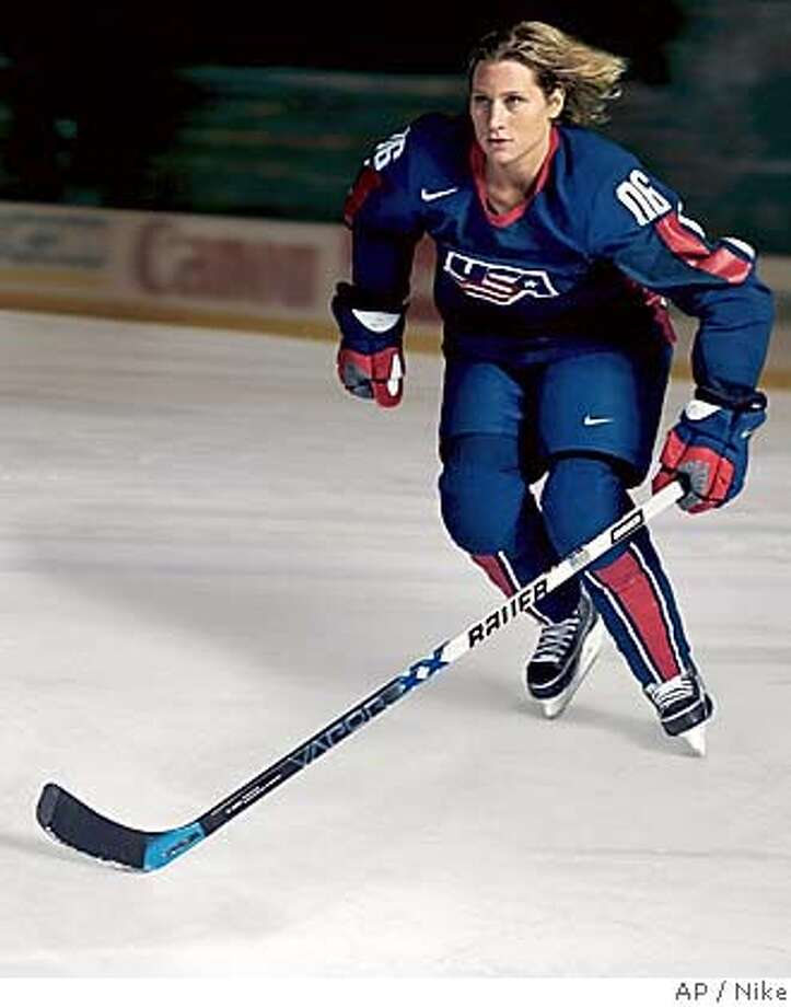 ** ADVANCE FOR WEEKEND EDITIONS JAN. 21-23 ** In this image released by Nike, Team USA's Angela Ruggiero skates in the new Nike swift hockey uniform to be worn during the Winter Olympics in Turin, Italy. Wind-tunnel tests are a longstanding part of developing new gear and outfits for speed-seeking athletes, but the quest for an aerodynamic edge rarely extended to ice hockey uniforms _ until now. Every hockey team at next month's Winter Olympics in Turin will be wearing streamlined uniforms developed by the same high-tech Nike unit that designs apparel for runners, cyclists and speedskaters. (AP Photo/Nike) ** ADVANCE FOR WEEKEND EDITIONS JAN. 21-23 ** EDITORIAL USE ONLY Photo: Associated Press