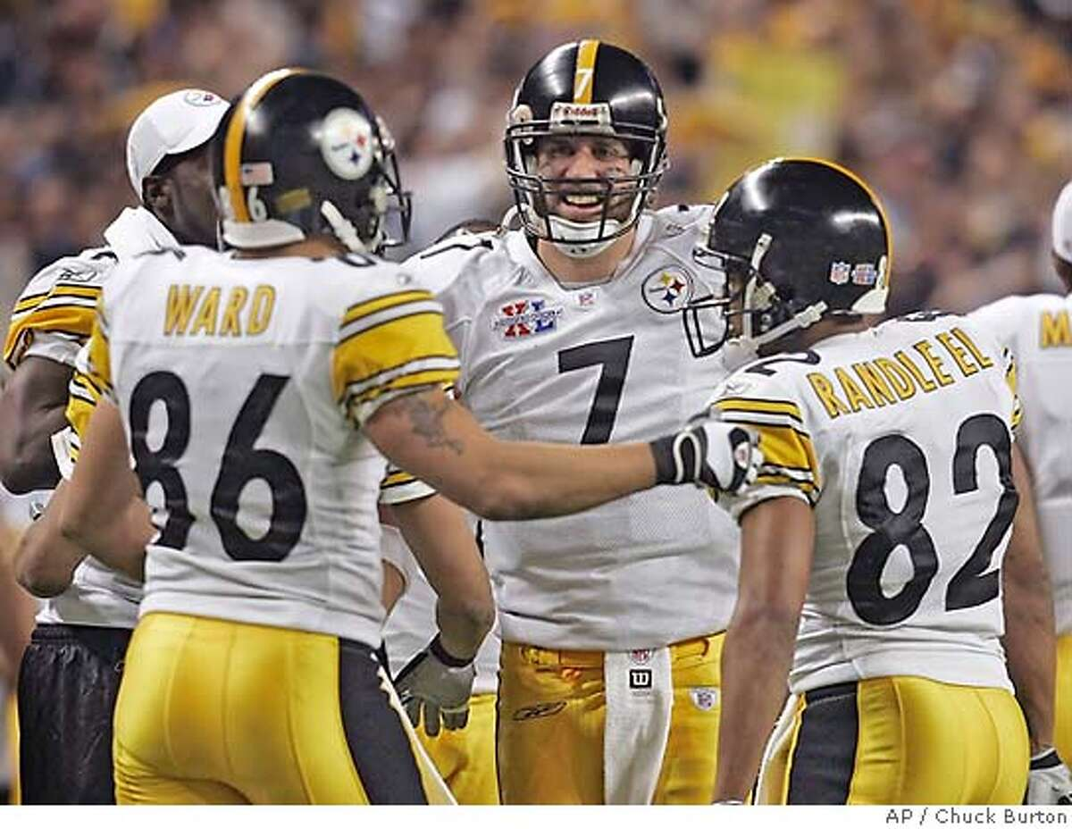 Pittsburgh Steelers quarterback Ben Roethlisberger (7) reacts with teammates Hines Ward (86) and Antwaan Randle El (82) in the fourth quarter of the Super Bowl XL football game against the Seattle Seahawks Sunday, Feb. 5, 2006, in Detroit. Randle El had just thrown a 43-yard touchdown pass to Ward. (AP Photo/Chuck Burton)