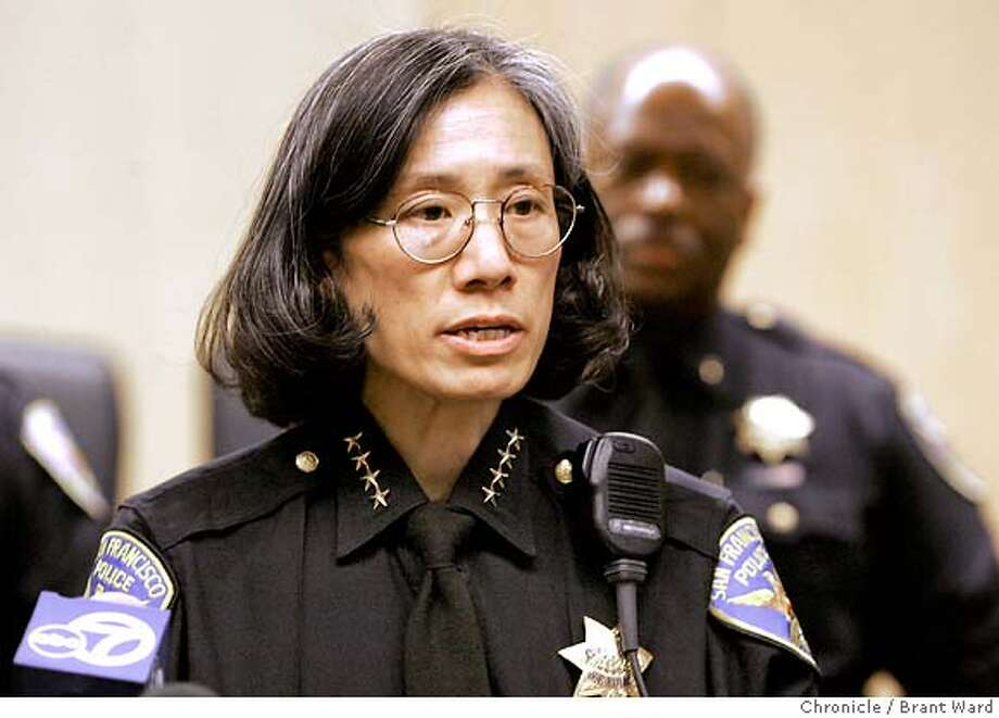 """San Francisco Police Chief Heather Fong held a press conference at the Hall of Justice to comment about the Chronicle's """"use of force"""" series Monday.  Brant Ward2/6/06 Photo: Brant Ward"""