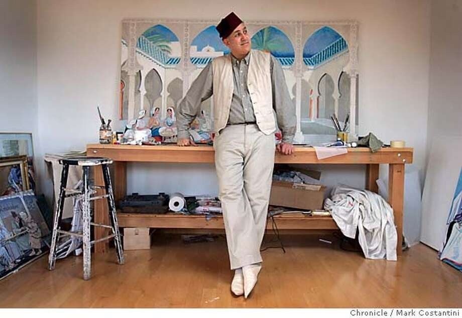CARTOONISTSO7_0123  {2/6/06}  Bendib in his studio.  The only Muslim cartoonist in America, KHALIL BENDIB, is here in Berkeley.  He's one of several nationally-notable cartoonists interviewed for a Tuesday newside story on how they're reacting to the violence sparked by the Muslim cartoons. Event on {2/6/06} in Berkeley, CA. Photo: Mark Costantini /San Francisco Chronicle. Photo: MARK COSTANTINI