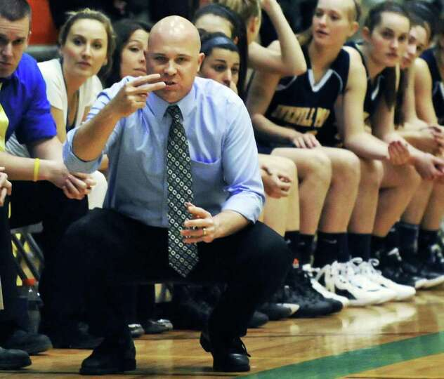 Averill Park coach Sean Organ signals players in their state Class A girls' basketball final against