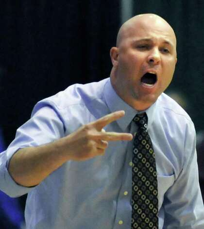 Averill Park coach Sean Organ calls out to players in their state Class A girls' basketball final against East High at the McDonough Complex at HVCC un Troy Saturday March 17, 2012.   (John Carl D'Annibale / Times Union) Photo: John Carl D'Annibale / 00016825A