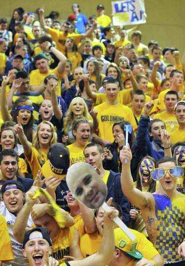 Averill Park students and fans cheer their team on during the state Class A girls' basketball final