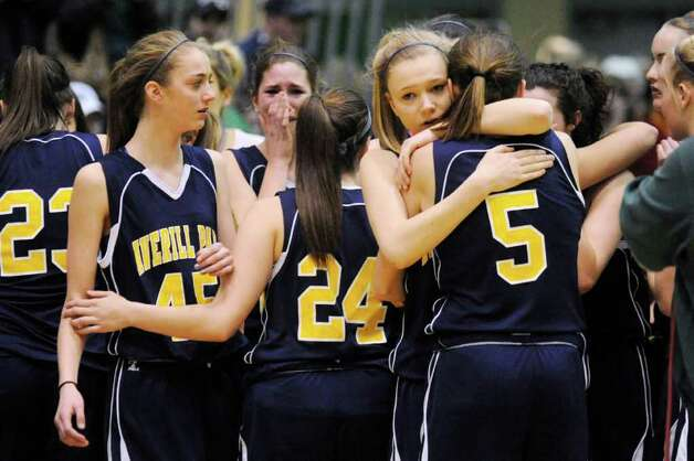 Averill Park players react after a 43-35 loss to East High School in the New York State Girls Basketball Championship Class A final in Troy, N.Y. on Saturday, March 17, 2012. (AP Photo/Tim Roske) Photo: Tim Roske