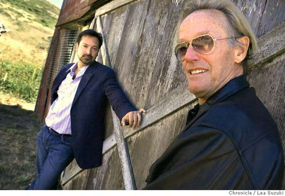 yuma_0025_ls.JPG From left: James Mangold (in suit jacket) directs in 3:10 to Yuma. Peter Fonda (in glasses) is cast as Byron McElroy in 3:10 to Yuma. Photo taken on 081507 in Mill Valley, CA.  Photo by Lea Suzuki/ The Chronicle  (James Mangold, Peter Fonda)cq Ran on: 09-09-2007  James Mangold (left) directed &quo;3:10 to Yuma,&quo; which stars Peter Fonda (right). Photo: Lea Suzuki